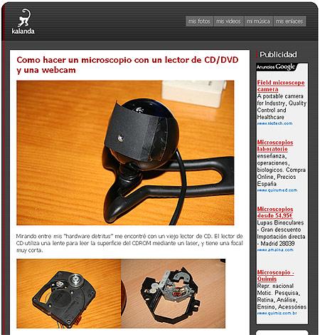 Microscopio con webcam.