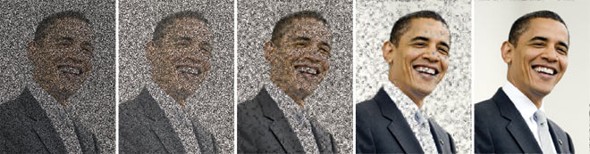 Fotos: Obama: Corbis; Simulación de imagen: Jarvis Haupt/Robert Nowak