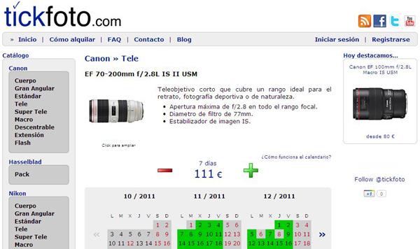 aeffeb79457d Tickfoto.com es una nueva web de alquiler de equipo fotográfico.