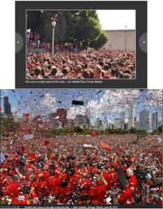 Comparativa entre fotografías del Chicago Sun-Times y el Chicago Tribune.